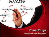 PowerPoint Template - Business hand writes the way from idea to success on flowchart