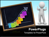PowerPoint Template - success progress growth concept on blackboard white chalk drawing and color sticky notes