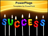 PowerPoint Template - Colorful rainbow candles spelling out success in a business celebration