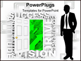 PowerPoint Template - Several words symbolizing qualities of a successful person surround a door leading to growth