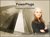 PowerPoint Template - business woman posing in a business setting in front of business buildings