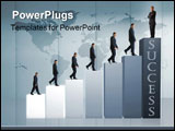 PowerPoint Template - business man climbing to a graph showing his growth and success