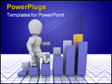 PowerPoint Template - 3D render of someone climbing up a bar chart