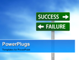 PowerPoint Template - A green sign has the words Failure and Success on it and a blue cloudy sky is in the background.