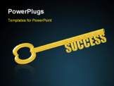 PowerPoint Template - Key to Success, a gold key with the words Success replacing the teeth