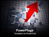 PowerPoint Template - Arrow breaking a wall of blocks - 3d render