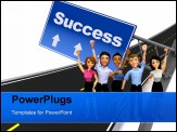 PowerPoint Template - 3D successful business group with arm up - isolated