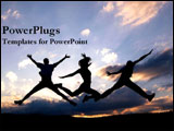 PowerPoint Template - A group of people jump for joy.