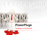 PowerPoint Template - Successful business leader standing on a red puzzle piece in front of his team - Isolated