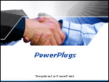 PowerPoint Template - Business hand shake deal with office buildings in the background