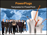 PowerPoint Template - businesspeople team next to a chart over a worldmap in the background