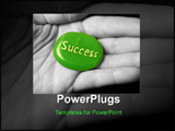 PowerPoint Template - success stone in black and white hand.