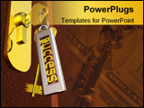 PowerPoint Template - Key to success and door (3d render)