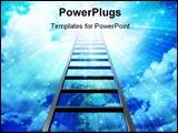 PowerPoint Template - Ladder leads into sky with burst of light