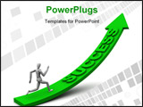PowerPoint Template - uality render of a model running up an arrow with success on it. Perfect for chasing success or suc