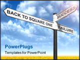 PowerPoint Template - Concept image of a signpost with Back to Square One Success and Failure against a blue cloudy sky.