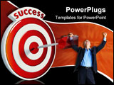 PowerPoint Template - Dart hitting the bullseye of a red success target