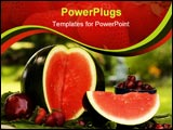 PowerPoint Template - Summer red fruit including sugar baby water melon apple strawberries and cherries.