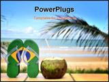 PowerPoint Template - Brazilian flip flop with a coconut on the beach in Brazil ** Note: Shallow depth of field