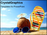 PowerPoint Template - Summer beach supplies on sand.