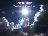 PowerPoint Template - hot sun between the clouds on the sky