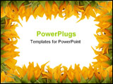 PowerPoint Template - sunflower plants frame with a white background