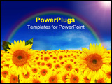 PowerPoint Template - Happy Bright Sunflower Landscape With Blue Sky
