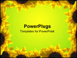 PowerPoint Template - A border of sunflower illuminated by sun