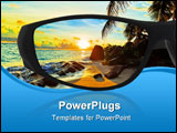 PowerPoint Template - Sunglasses and seascape (my photo) reflection isolated on white background