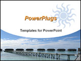 PowerPoint Template - Resort houses over water on stilts and small wooden bridge plus sun sign