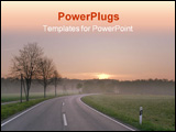 PowerPoint Template - Country road during sunrise in early spring in Germany Europe