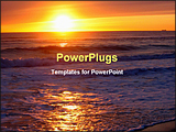 PowerPoint Template -  view from the beach with a yellow glowing sun setting in the horizon. The picture has a warm glow