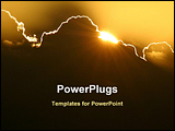 PowerPoint Template - sun hidden in the black cloud in the sky at the sunset time