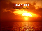 PowerPoint Template - Beautiful sunset over the sea. 3d image