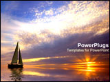 PowerPoint Template - Effervescently colorful sunset and sailboat.