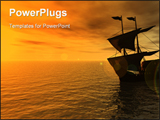 PowerPoint Template - sailing ship in the sunset - 3d