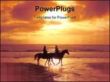 PowerPoint Template - Horse riding on the beach at sunset