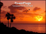 PowerPoint Template - orange sunset on tropical island with palm