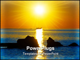PowerPoint Template - Boat on the sea in dawn beams
