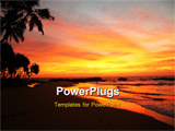 PowerPoint Template - Tropical island palm beach at sunset time