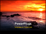 PowerPoint Template - Picture of an amazing sunset over a rocky seascape in southern Greece