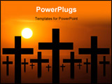PowerPoint Template - Crosses with a dramatic sunset behind it.