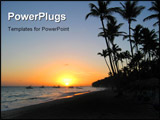 PowerPoint Template - sunset in a Caribbean beach