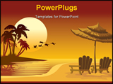PowerPoint Template - Summer landscape: sunset beach chairs and umbrella