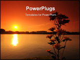 PowerPoint Template - sunset lake and flower in the parks