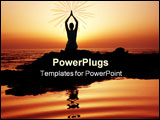 PowerPoint Template - Woman doing yoga at sunset on the seashore