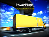 PowerPoint Template - speed yellow delivery truck on road or highway