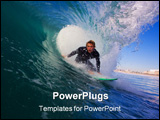 PowerPoint Template - Surfer Gets an Epic Barrel On Big Wave With Beach in Background