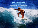 PowerPoint Template - A young man catches a wave on his surfboard at Point Panic Oahu Hawaii