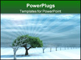 PowerPoint Template - tree with a green foliage in surroundings naked trees on to snow on a background cloudy sky